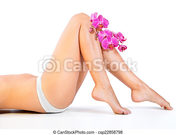 beautiful legs and orchids - csp22858798