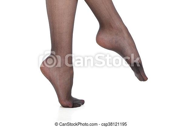 Slim girls in black pantyhose