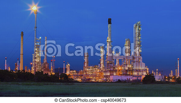 beautiful lighting of oil refinery in petrochemical industry estate site thailand - csp40049673
