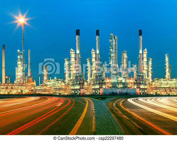 beautiful lighting of oil refinery plant in  heav petrochemicaly - csp22297480