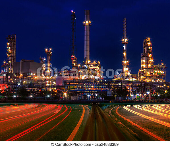 beautiful lighting of oil refinery plant in industry estate agai - csp24838389