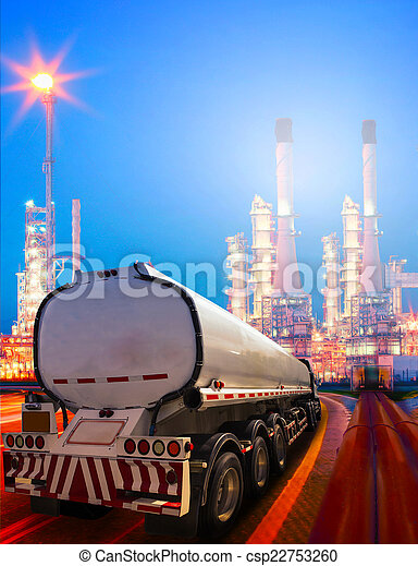beautiful lighting of oil refinery plant in heavy petrochemical  - csp22753260