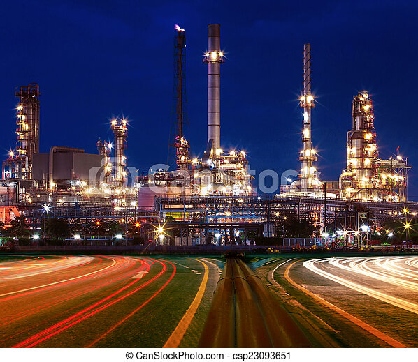 beautiful lighting of oil refinery plant in industry estate agai - csp23093651