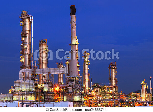 beautiful lighting of oil refinery plant in petrochemical heavy  - csp24658744