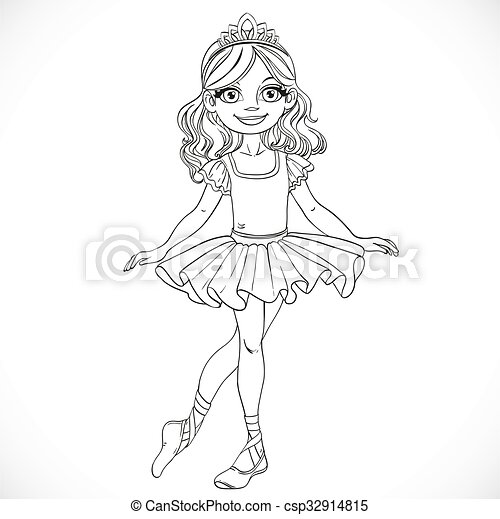 Beautiful little brunette ballerina girl in tiara stand on a white background outlined - csp32914815