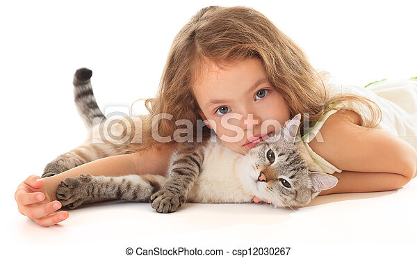 Beautiful little girl hugging her cat. - csp12030267
