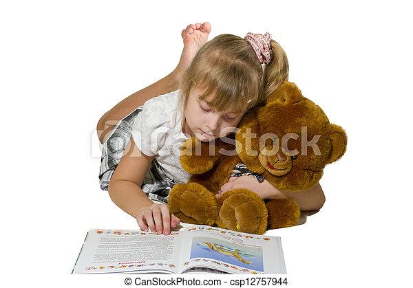 Beautiful little girl playing - csp12757944