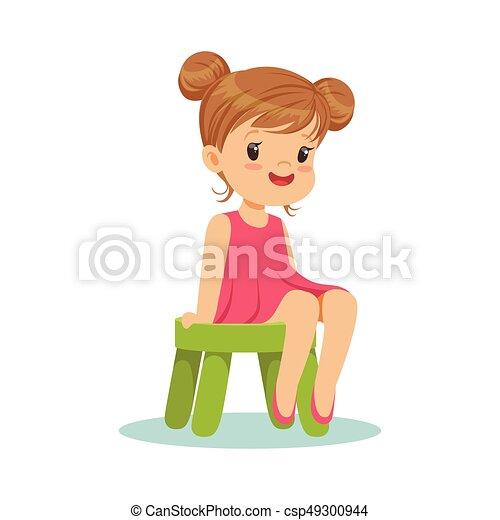 Stupendous Beautiful Little Girl Sitting On A Small Green Stool Colorful Character Gmtry Best Dining Table And Chair Ideas Images Gmtryco