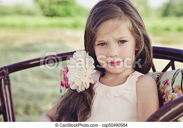 beautiful little girl with flowing hair - csp50490584