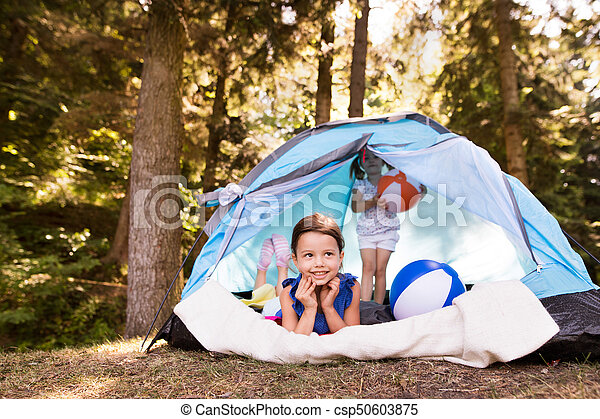Beautiful Little Girls In Tent C&ing By The Lake. Stock Photo  sc 1 st  Can Stock Photo & Beautiful little girls in tent camping by the lake. Two... picture ...