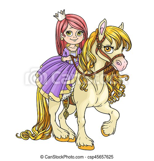 Beautiful little princess riding on horse isolated on white background - csp45657625