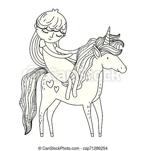 beautiful little unicorn with princess characters - csp71286254