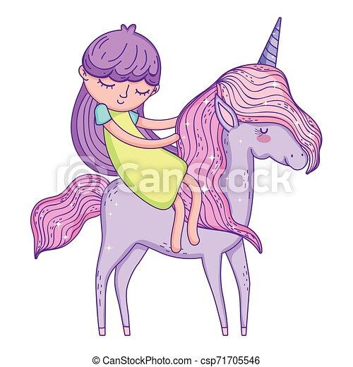 beautiful little unicorn with princess characters - csp71705546