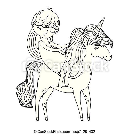 beautiful little unicorn with princess characters - csp71281432
