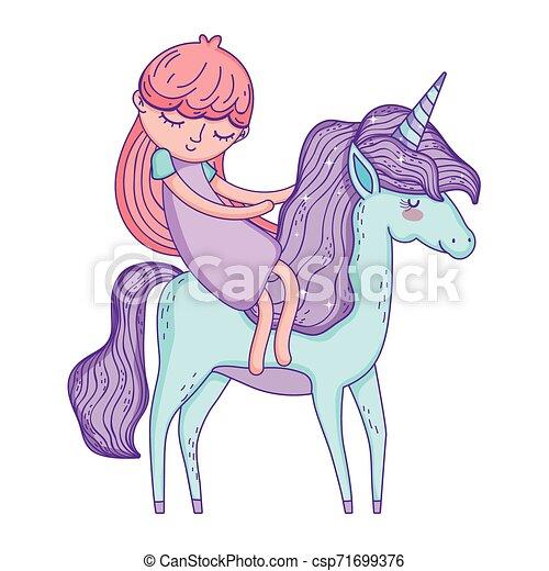 beautiful little unicorn with princess characters - csp71699376