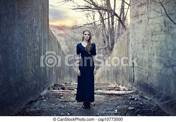 beautiful lonely girl  in long dress  - csp10773000