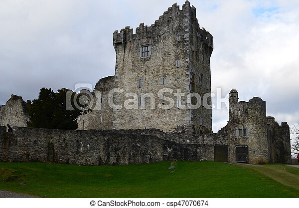 Beautiful Look at Ross Castle in Killarney Ireland - csp47070674