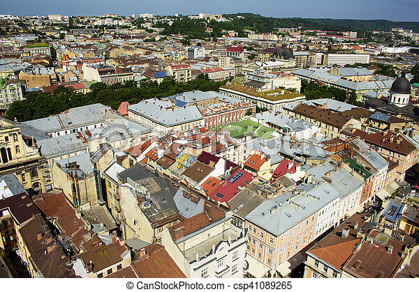 Beautiful Lviv city in sunny day - csp41089265