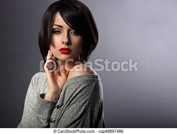 Beautiful Makeup Elegant Sexy Woman With Short Hair Style And Red