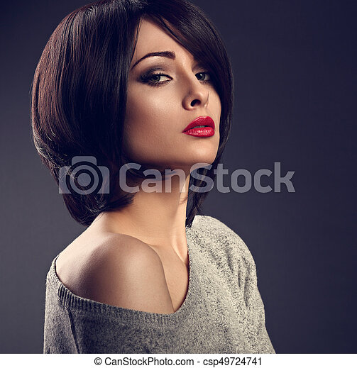 Beautiful Makeup Sexy Woman With Short Hair Style With Hot Red