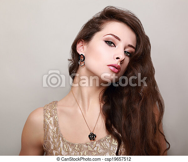 Beautiful makeup woman with long brown hair - csp19657512