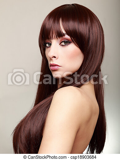 Beautiful makeup woman with perfect brown hair - csp18903684