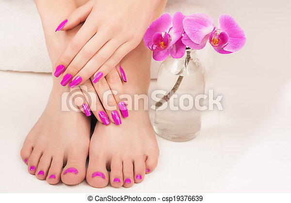 beautiful manicure and pedicure - csp19376639