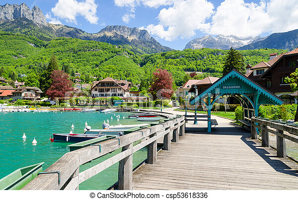 beautiful marina in Talloires village on Lake Annecy, France - csp53618336