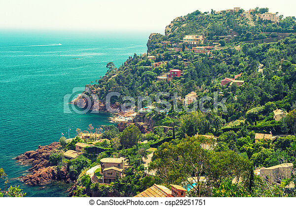Beautiful Mediterranean Landscape French Riviera France Vintage
