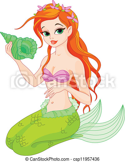 beautiful mermaid with sea shell illustration of a vectors rh canstockphoto com clip art mermaid tail clipart mermaid tail