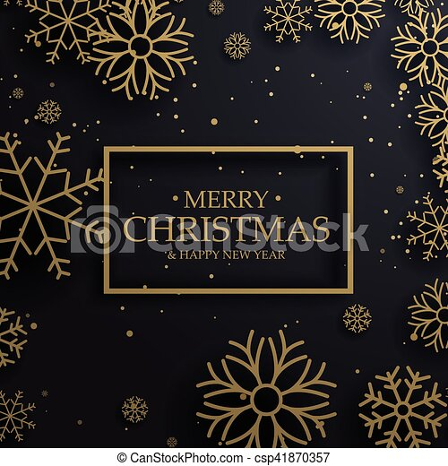 Beautiful Merry Christmas Greeting Card With Gold Snowflakes On Dark Background