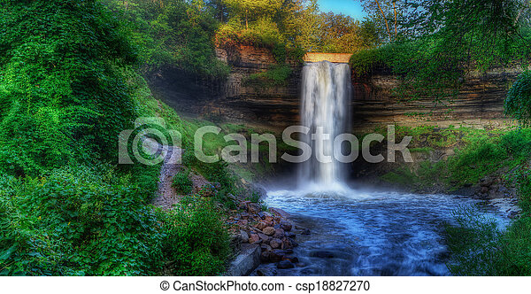 Beautiful Minnehaha Creek Waterfall in HDR High Dynamic Range - csp18827270