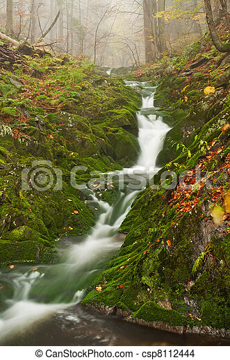 Beautiful Misty Waterfall - csp8112444