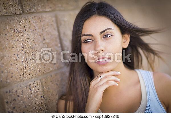 Beautiful Mixed Race Young Woman - csp13927240