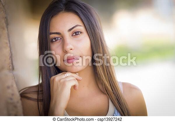 Beautiful Mixed Race Young Woman - csp13927242