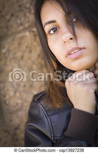 Beautiful Mixed Race Young Woman - csp13927238