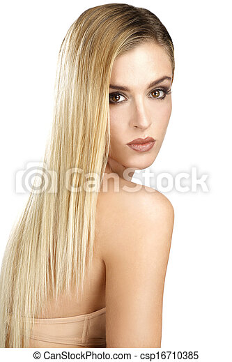 beautiful model showing her perfect blonde straight hair - csp16710385