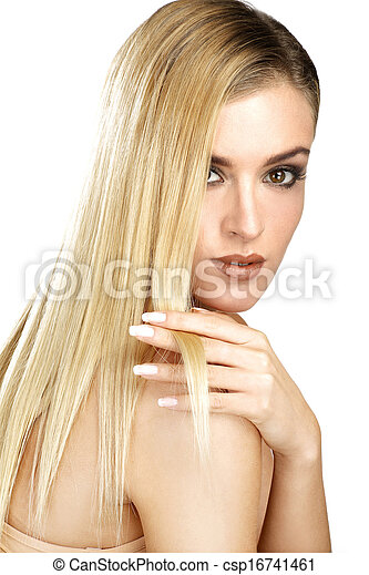 beautiful model showing her perfect blonde straight hair - csp16741461