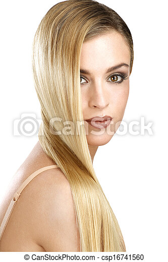 beautiful model showing her perfect blonde straight hair - csp16741560