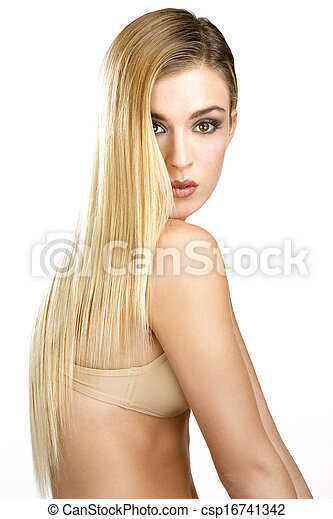 beautiful model showing her perfect blonde straight hair - csp16741342
