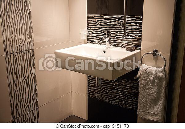 Beautiful Modern Bathroom in Luxury New Home - csp13151170