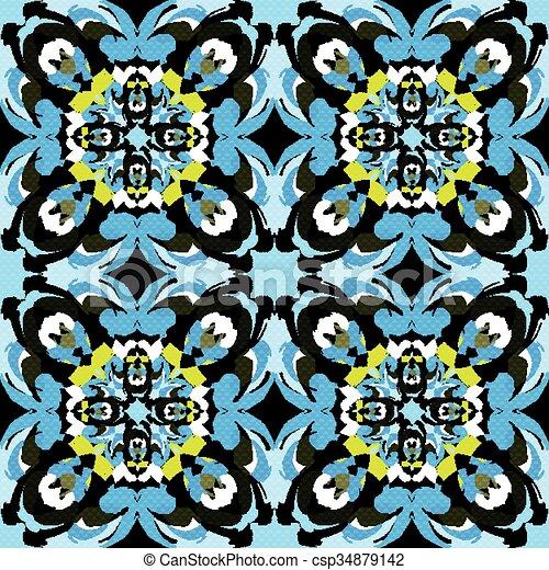 beautiful monochrome tribal antique seamless pattern vector illustration - csp34879142