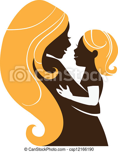 Beautiful mother silhouette with baby - csp12166190