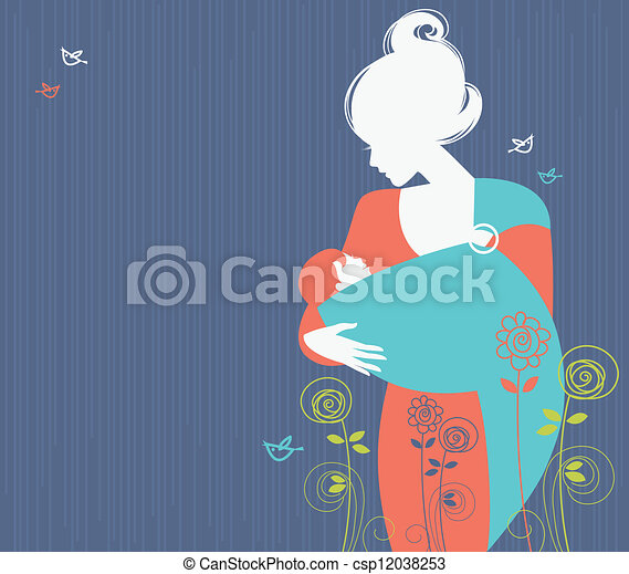 Beautiful mother silhouette with baby in a sling and floral background - csp12038253