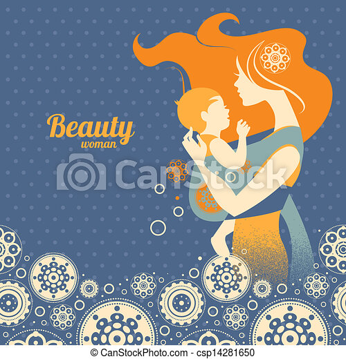 Beautiful mother silhouette with baby in a sling and floral background	 - csp14281650