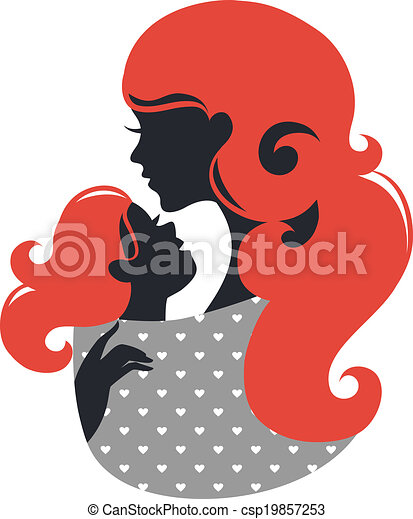 Beautiful mother silhouette with baby in a sling - csp19857253