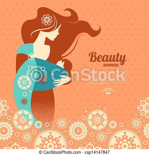 Beautiful mother silhouette with baby in a sling and floral background - csp14147847