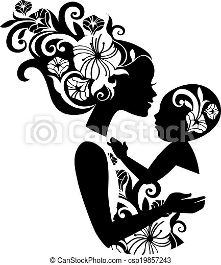 Beautiful mother silhouette with baby in a sling. Floral illustration - csp19857243