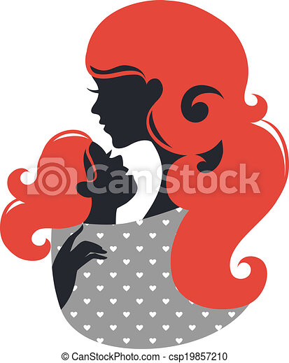 Beautiful mother silhouette with baby in a sling - csp19857210