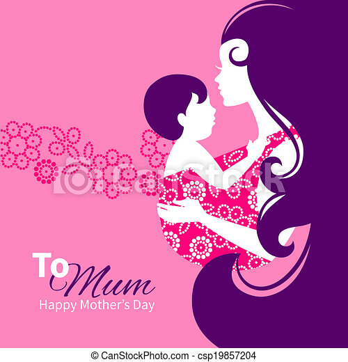 Beautiful mother silhouette with baby in a sling. Floral illustration - csp19857204